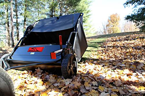 """The Brinly 42"""" lawn sweeper is highly rated by owners"""