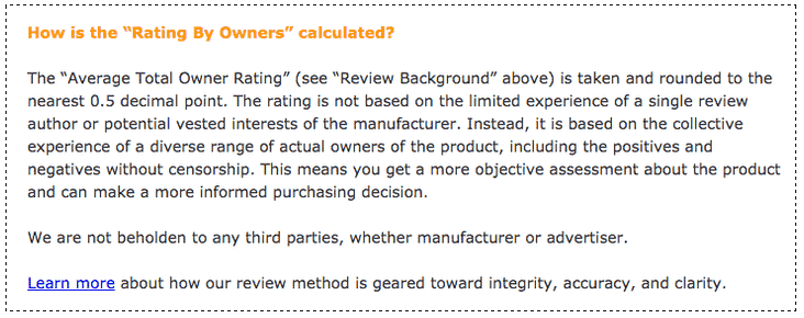 """How the """"Rating By Owners"""" is calculated"""