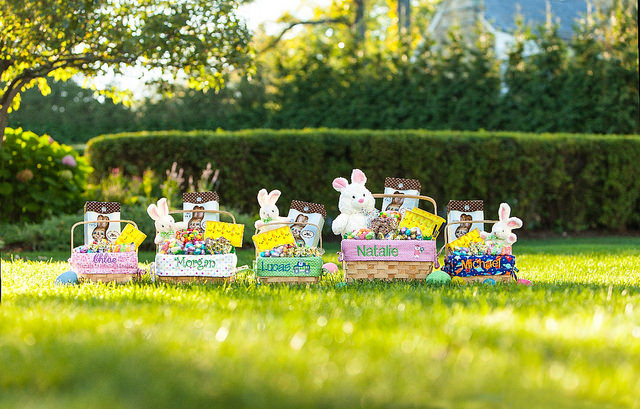 Easter baskets on lawn